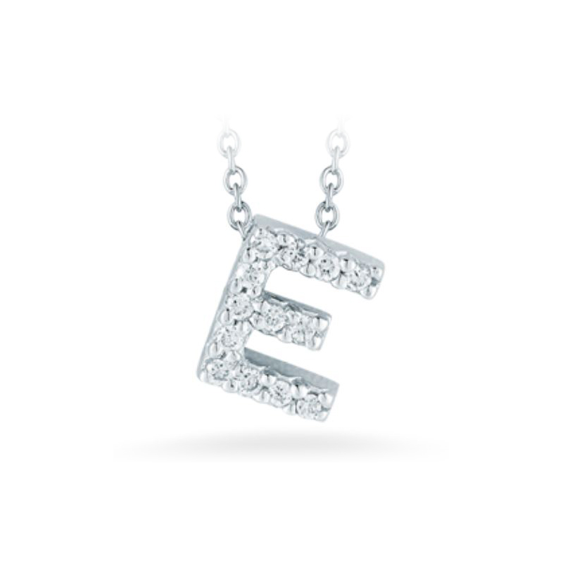 "Roberto Coin 18 Karat White Gold Love Letter ""E"" Pendant with diamonds"