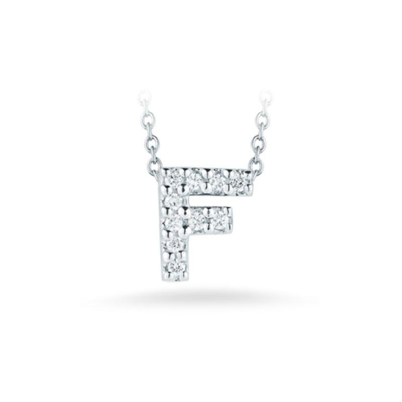 "Roberto Coin 18 Karat White Gold Love Letter ""F"" Pendant with diamonds"