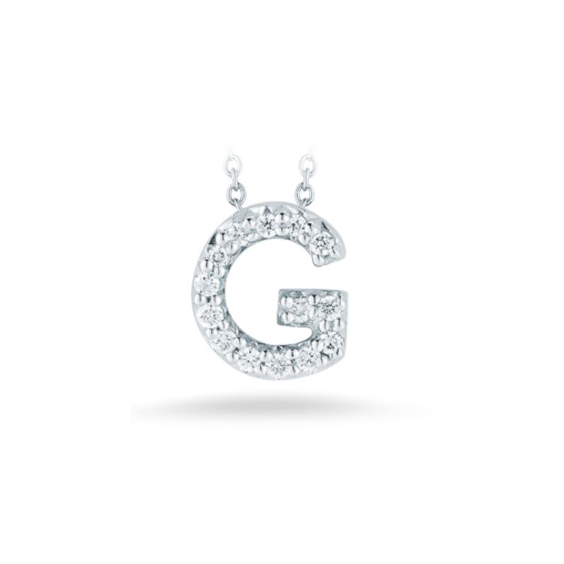 "Roberto Coin 18 Karat White Gold Love Letter ""G"" Pendant with diamonds"