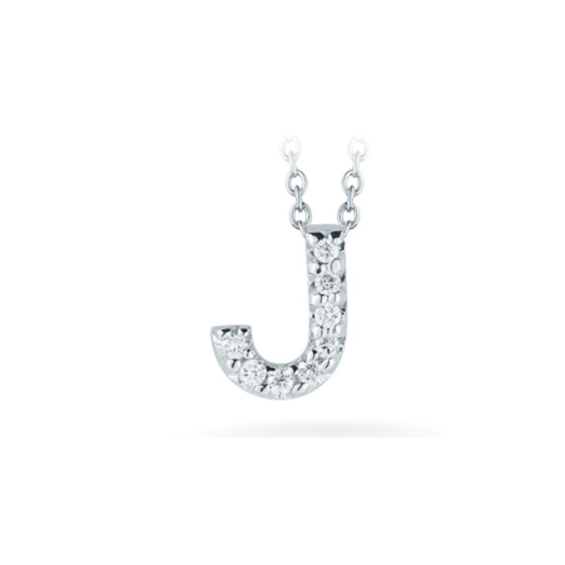 "Roberto Coin 18 Karat White Gold Love Letter ""J"" Pendant with diamonds"