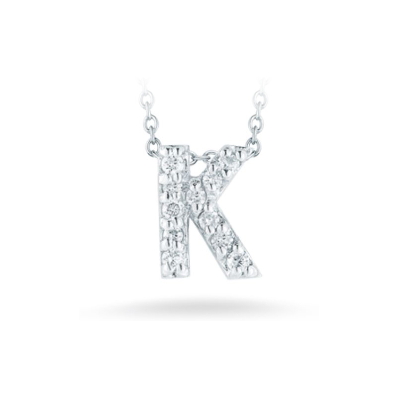 "Roberto Coin 18 Karat White Gold Love Letter ""K"" Pendant with diamonds"