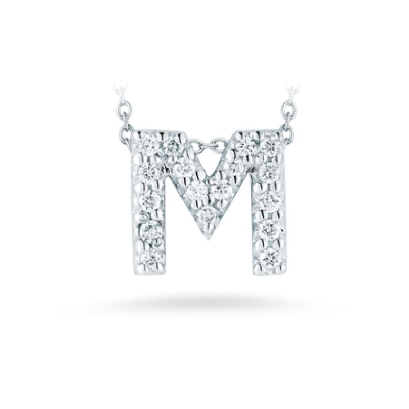 "Roberto Coin 18 Karat White Gold Love Letter ""M"" Pendant with diamonds"