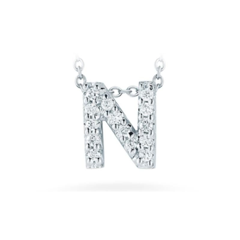 "Roberto Coin 18 Karat White Gold Love Letter ""N"" Pendant with diamonds"