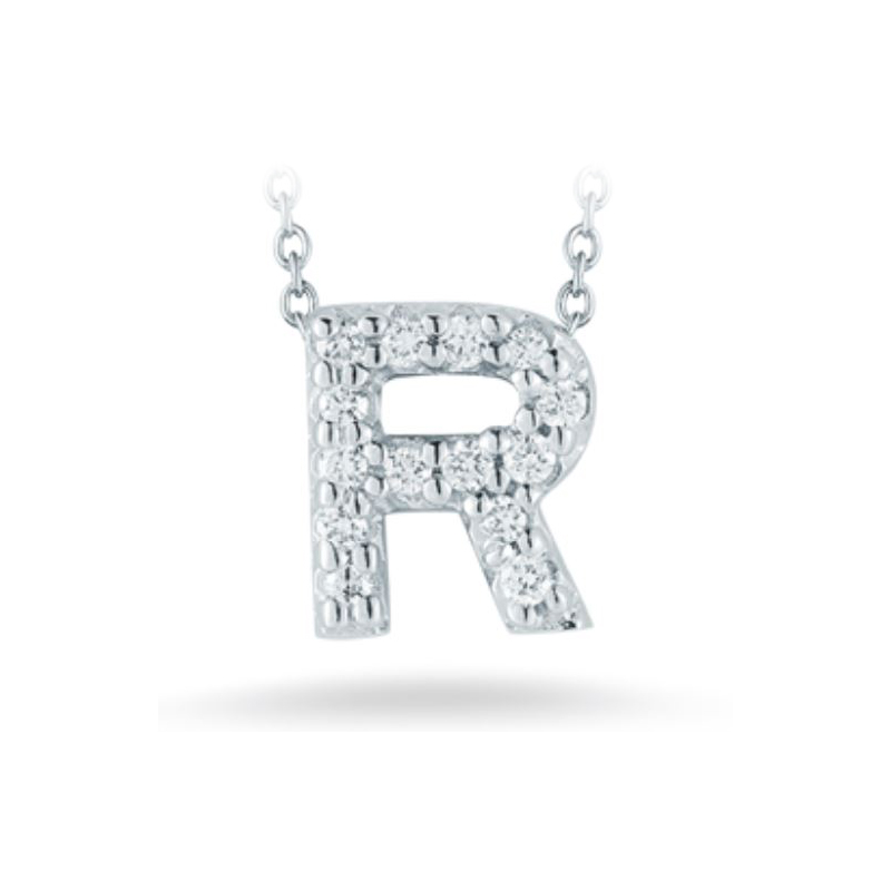 "Roberto Coin 18 Karat White Gold Love Letter ""R"" Pendant with diamonds"