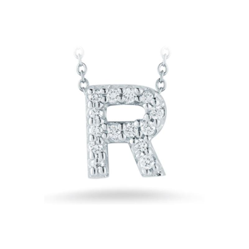 "Roberto Coin 18 Karat White Gold Love Letter ""R"" Pendant with diamonds"