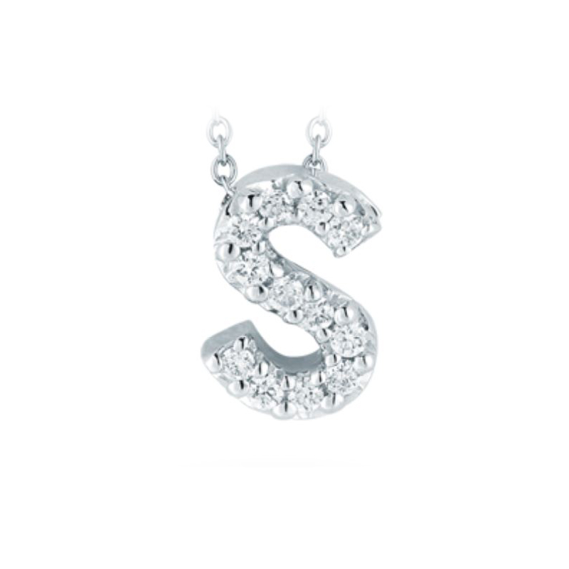 "Roberto Coin 18 Karat White Gold Love Letter ""S"" Pendant with diamonds"