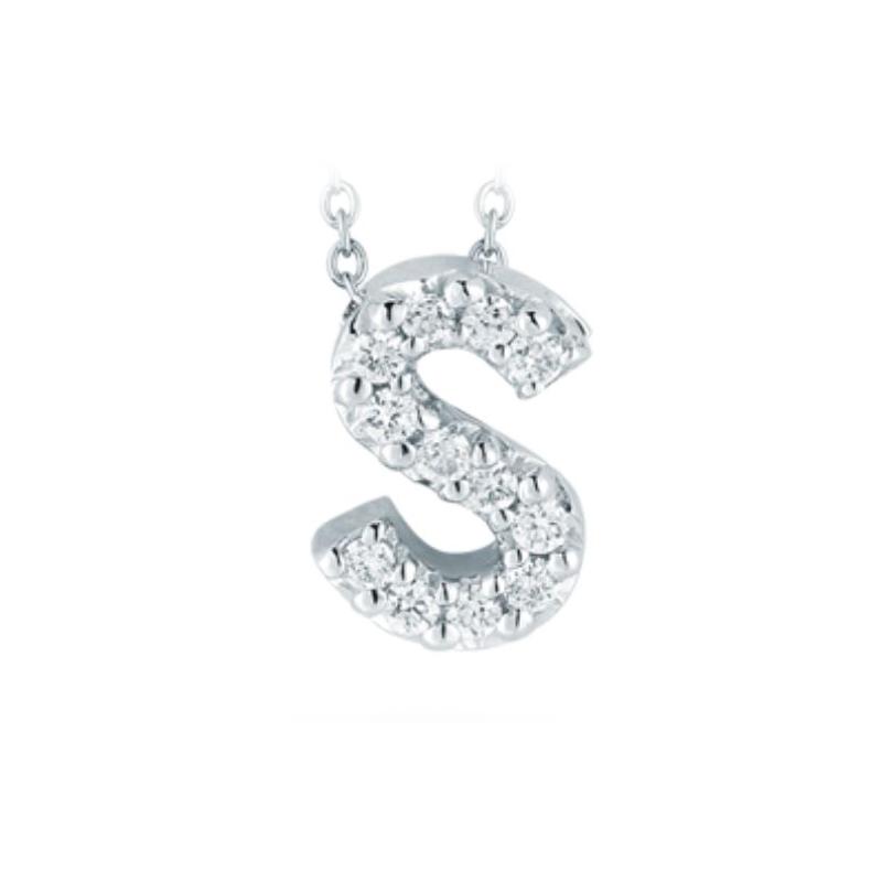 "Roberto Coin 18 Karat White Gold Love Letter ""S"" Pendant with diamonds"