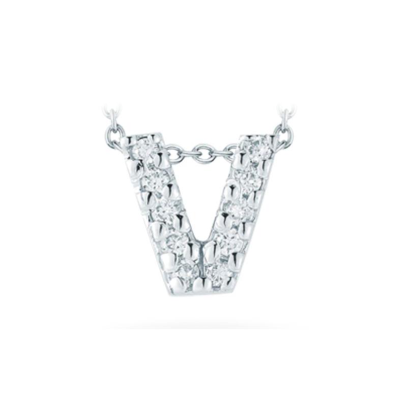 "Roberto Coin 18 Karat White Gold Love Letter ""V"" Pendant with diamonds"