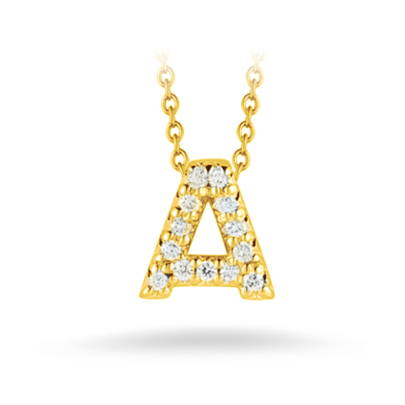 "Roberto Coin 18 Karat Yellow Gold Love Letter ""A"" Pendant with diamonds"