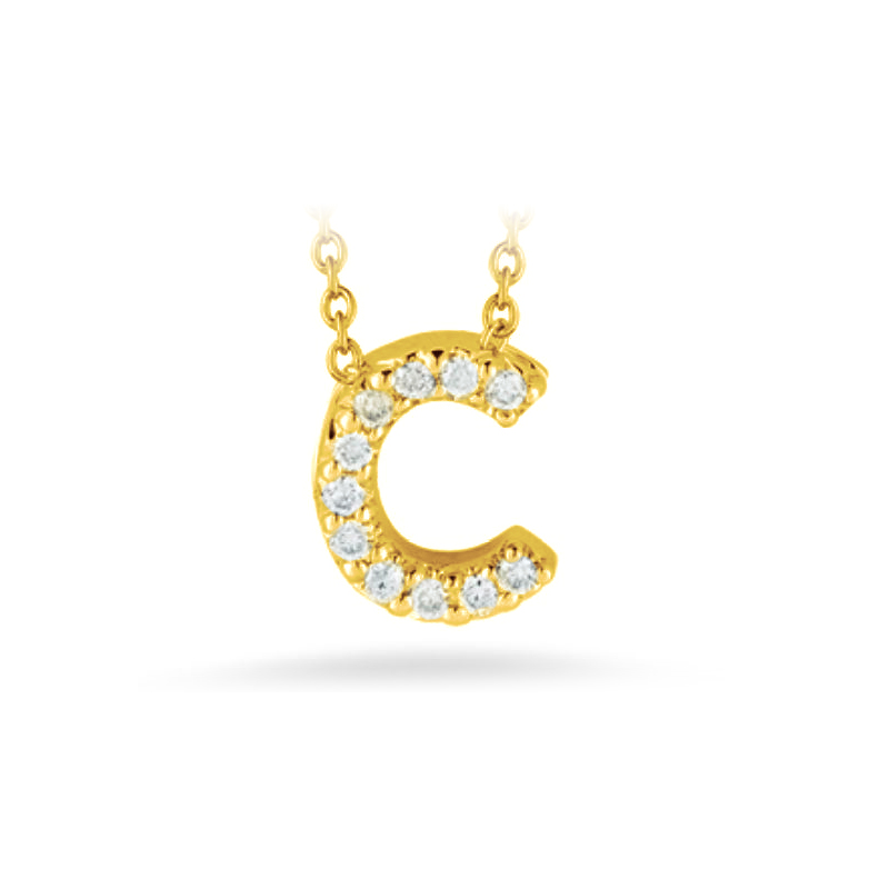 "Roberto Coin 18 Karat Yellow Gold Love Letter ""C"" Pendant with diamonds"