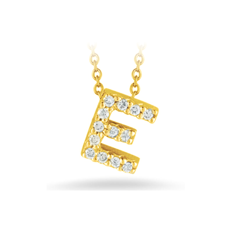 "Roberto Coin 18 Karat Yellow Gold Love Letter ""E"" Pendant with diamonds"