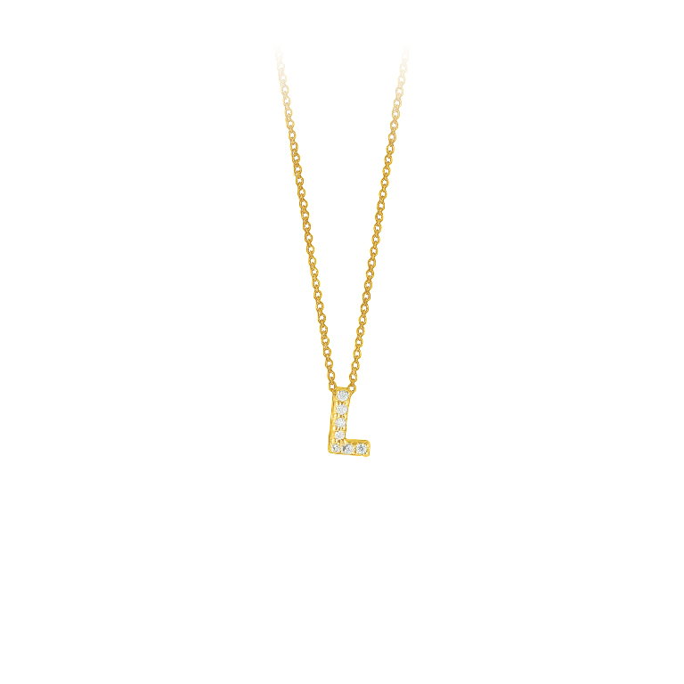 "Roberto Coin 18 Karat Yellow Gold Love Letter ""L"" Pendant with diamonds"