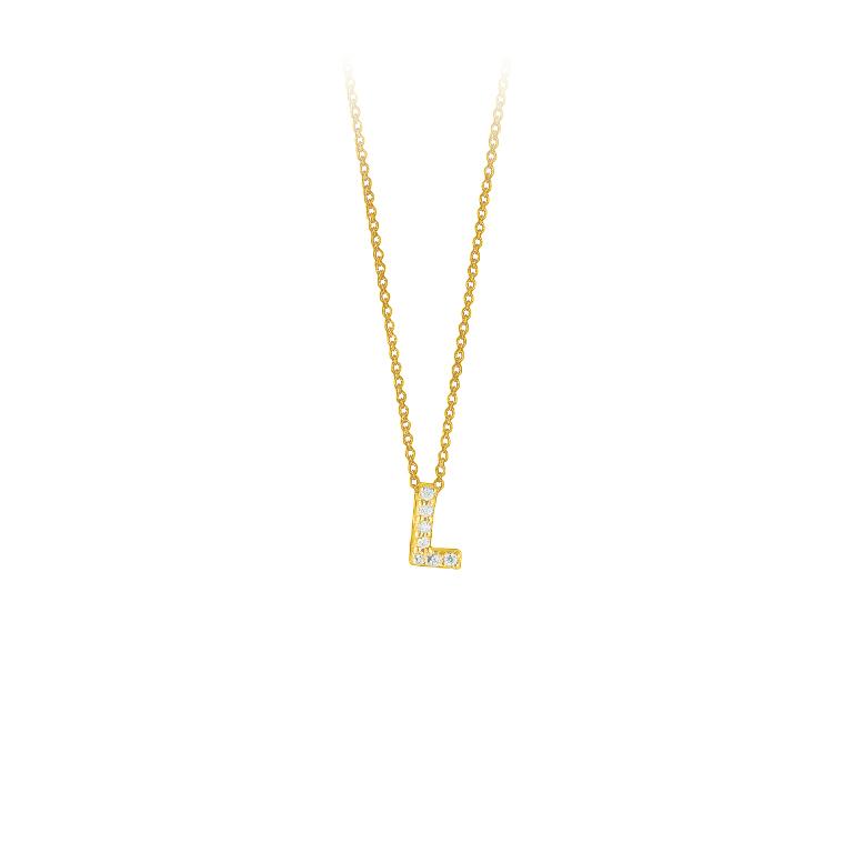 "Roberto Coin 18 Karat Yellow Gold Love Letter ""L"" Pendant with diamonds"