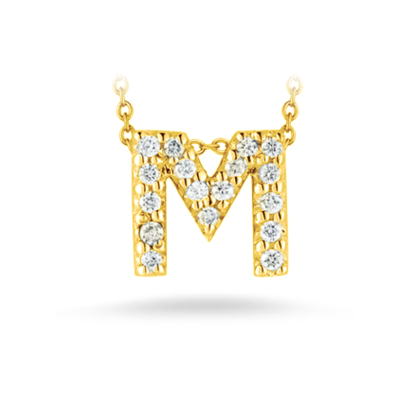 "Roberto Coin 18 Karat Yellow Gold Love Letter ""M"" Pendant with diamonds"
