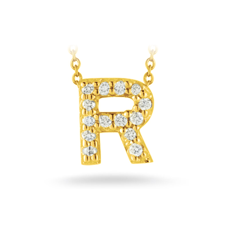 "Roberto Coin 18 Karat Yellow Gold Love Letter ""R"" Pendant with diamonds"