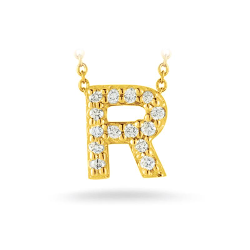 "Roberto Coin 18 Karat Yellow Gold Love Letter ""R"" Pendant with diamonds"