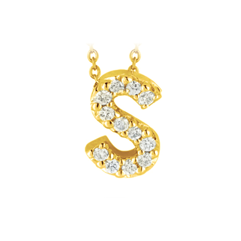 "Roberto Coin 18 Karat Yellow Gold Love Letter ""S"" Pendant with diamonds"