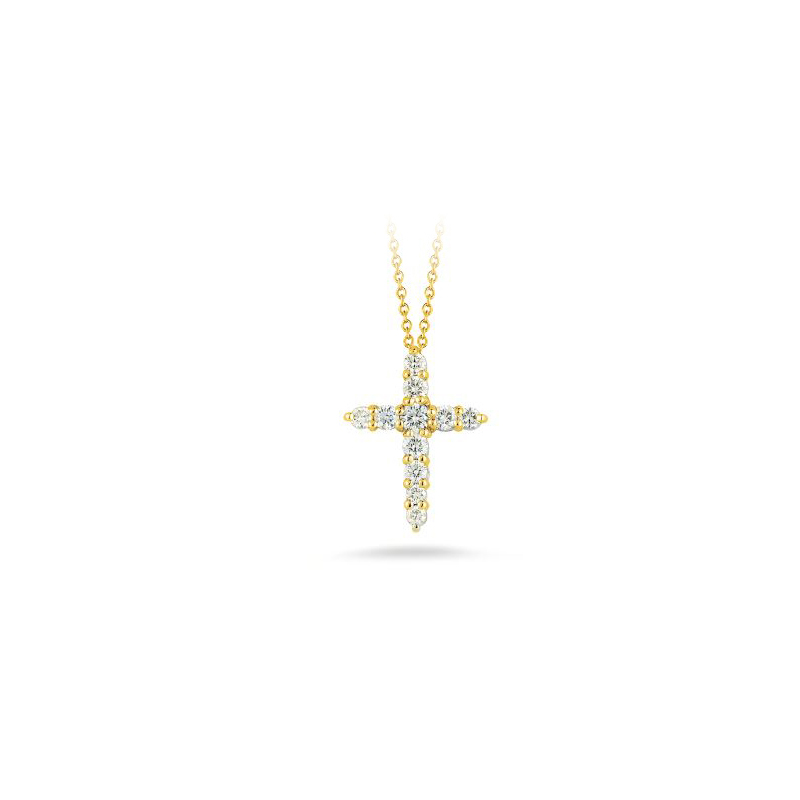 Roberto Coin 18 Karat Yellow Gold Cross Pendant with Diamonds