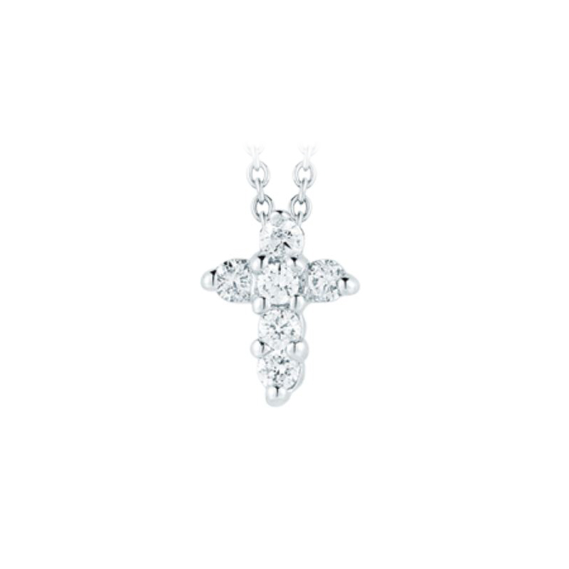 Roberto Coin 18 Karat White Gold Baby Cross Pendant with diamonds