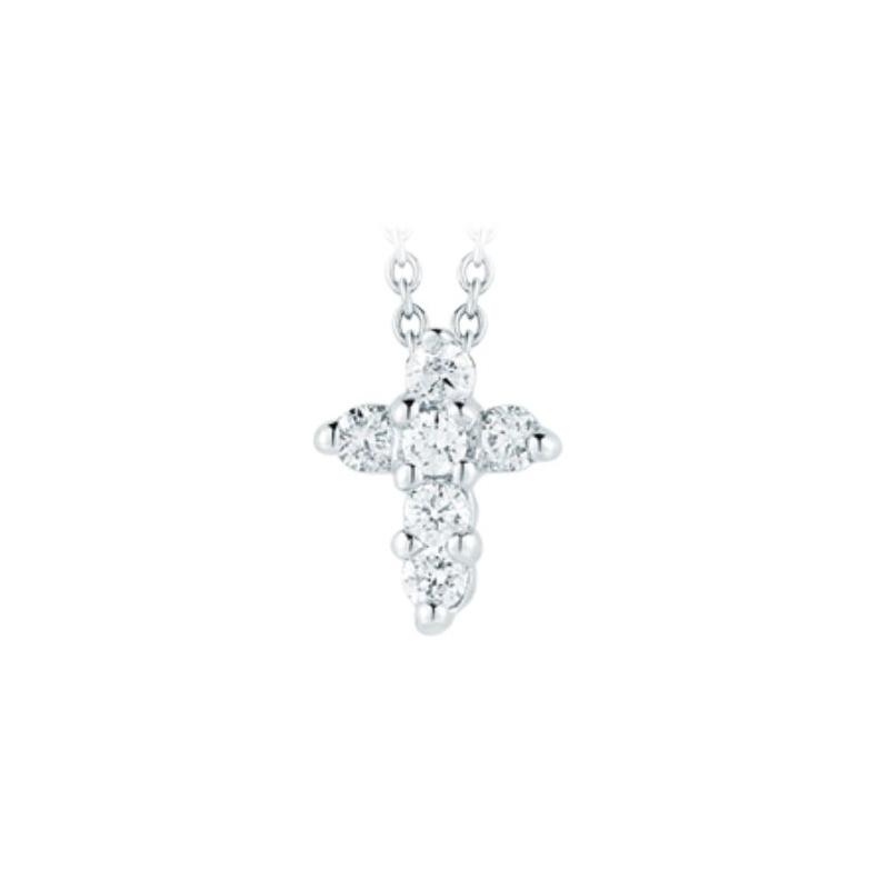 Roberto Coin 18 Karat White Gold Baby Cross Pendant with diamonds
