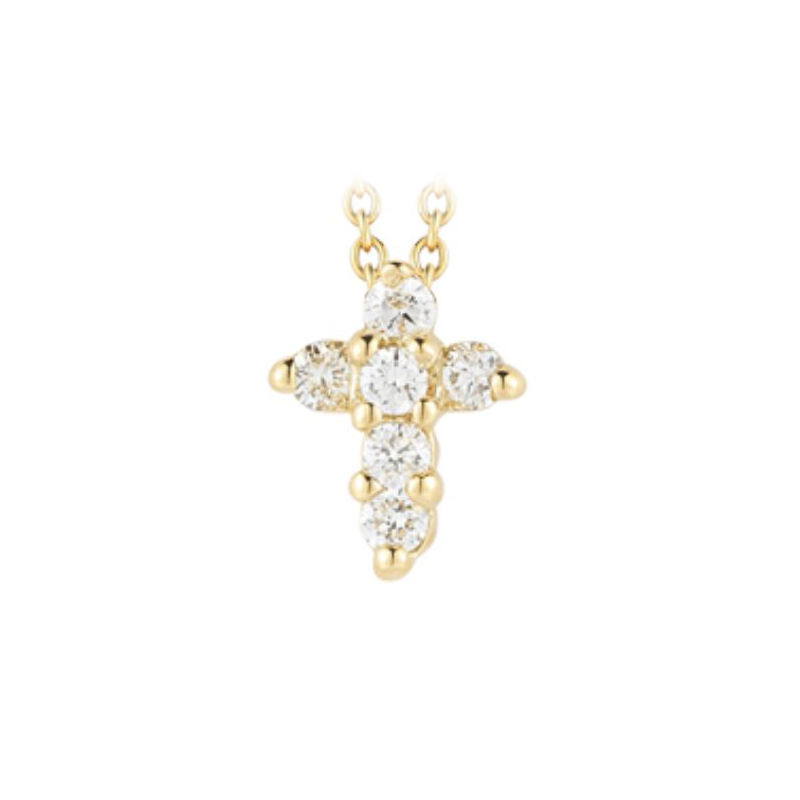 Roberto Coin 18 Karat Yellow Gold Baby Cross Pendant with diamonds