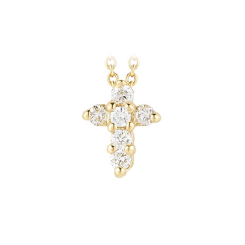 Roberto Coin 18 Karat Yellow Gold Baby Cross Pendant with diamonds