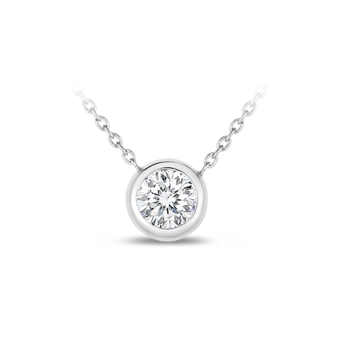Roberto Coin 18 Karat White Gold Bezel Set Diamond Solitaire Necklace