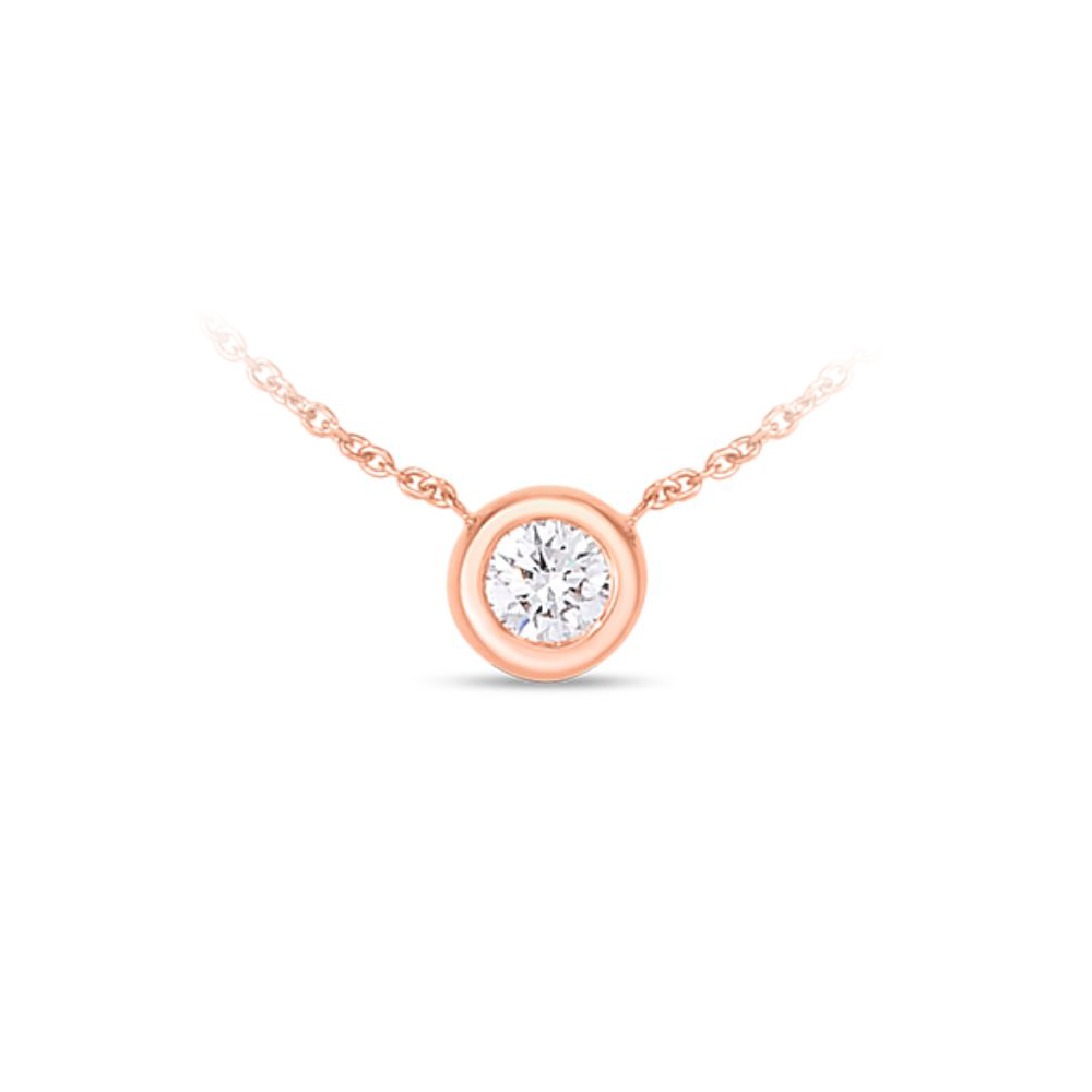 Roberto Coin 18 Karat Rose Gold Bezel Set Diamond Solitaire Necklace
