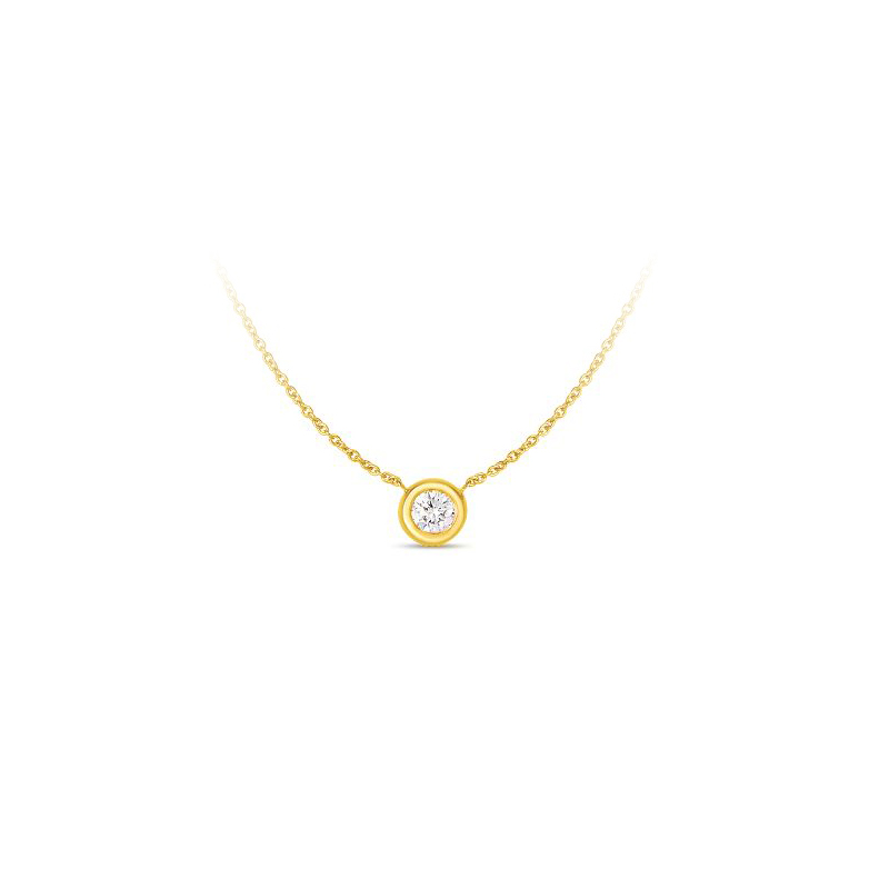 Roberto Coin 18 Karat Yellow Gold Bezel Set Diamond Solitaire Necklace