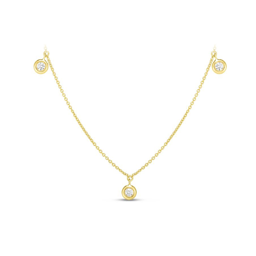 Roberto Coin 18 Karat Yellow Gold Five Diamond Drop Station Necklace