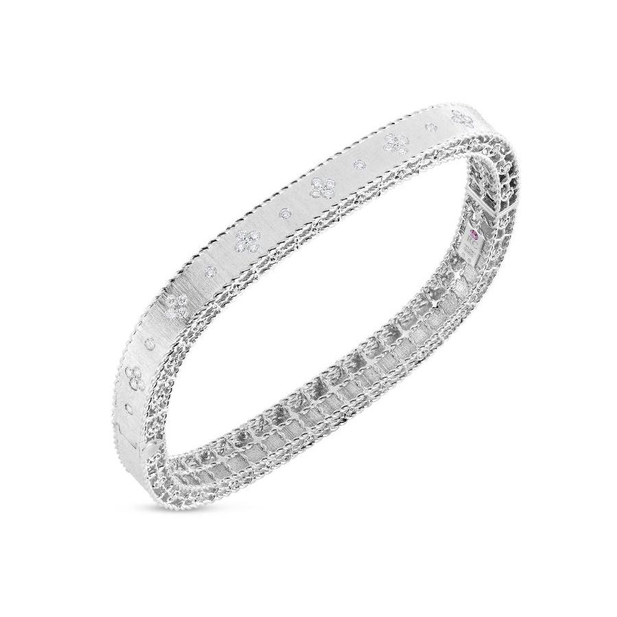 Roberto Coin 18 Karat White Gold Satin Finish Fleur de Lis Diamond Bangle