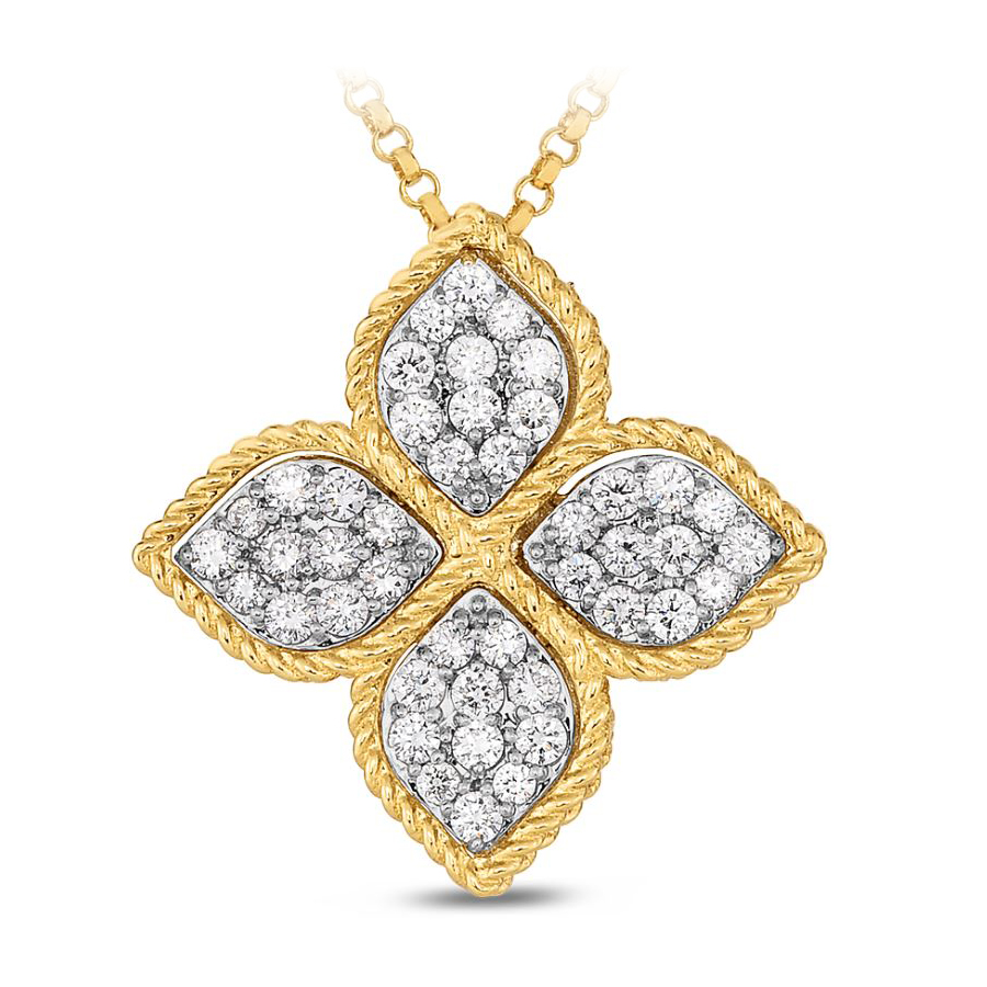 Roberto Coin 18 Karat Yellow Gold Princess Flower Large Pendant with diamonds