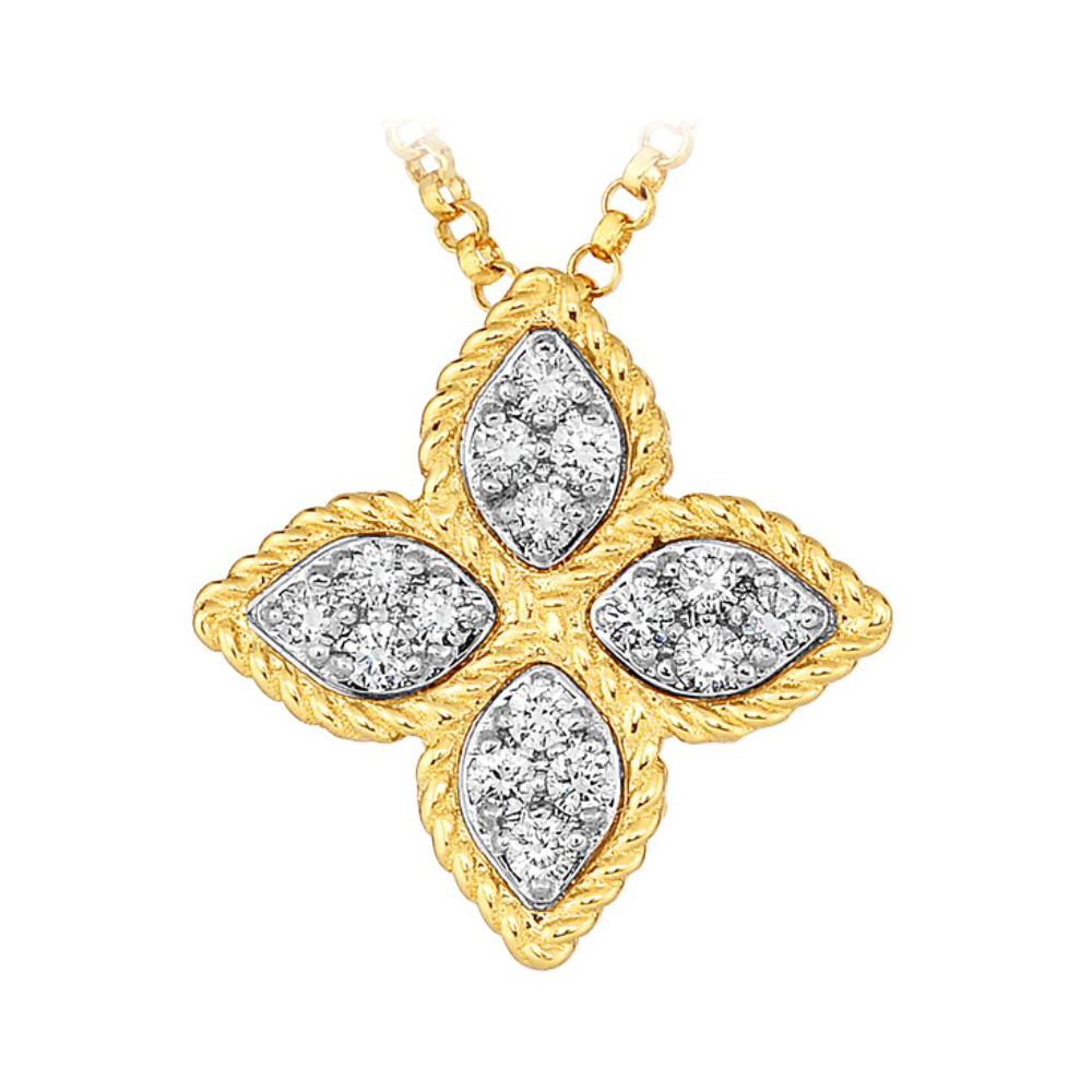 Roberto Coin 18 Karat Yellow Gold Princess Flower Medium Pendant with Diamonds