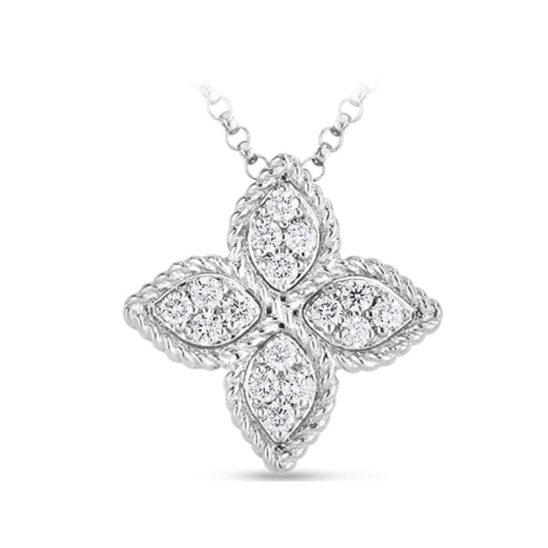 Roberto Coin 18 Karat White Gold Princess Flower Medium Pendant with Diamonds