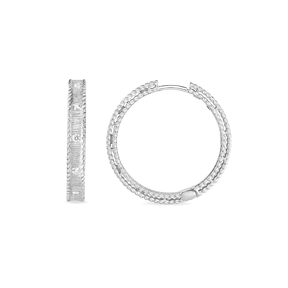 Roberto Coin 18 Karat White Gold Princess Bangle with Diamonds