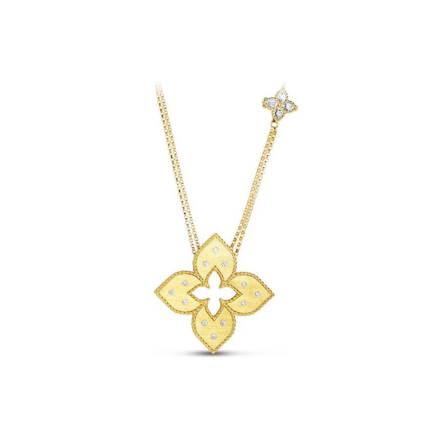 Roberto Coin 18 Karat Yellow Gold and Diamond Venetian Princess Medium Pendant Necklace