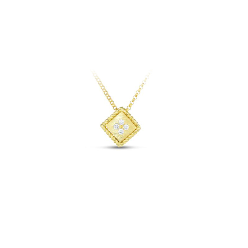 Roberto Coin 18 Karat Yellow Gold Palazzo Ducale Diamond Accent Satin Small Pendant Necklace