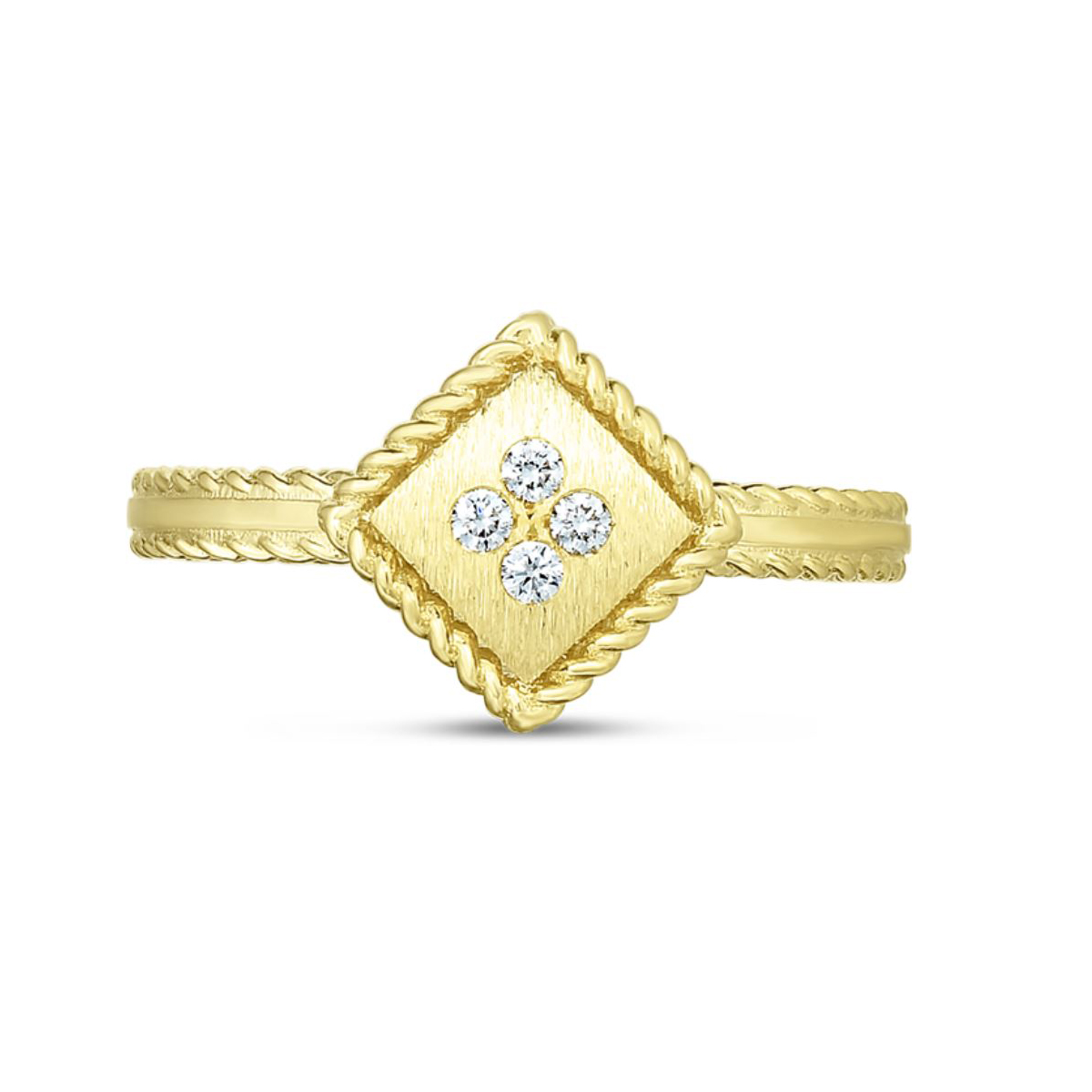 Roberto Coin 18 Karat Yellow Gold and diamond Palazzo Ducale Square Ring