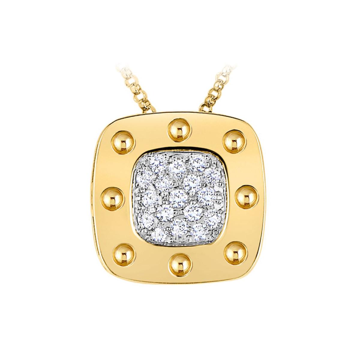 Roberto Coin 18 Karat Yellow Gold Pois Moi Large Diamond Pendant Necklace