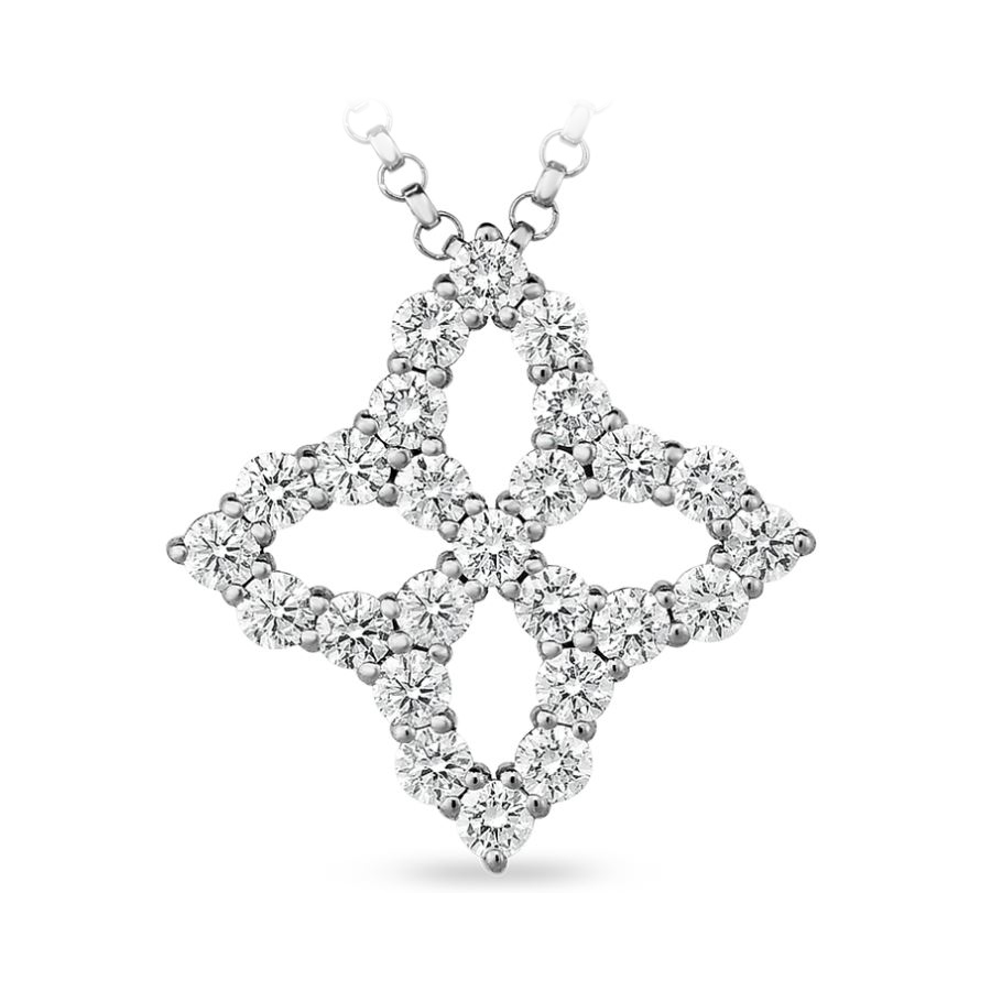 Roberto Coin 18 Karat White Gold Princess Flower Diamond Outline Medium Pendant