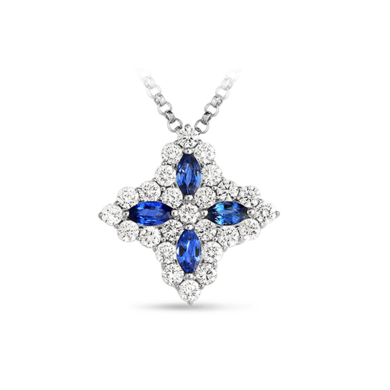 Roberto Coin 18 Karat White Gold Princess Flower Diamond & Sapphire Medium Pendant