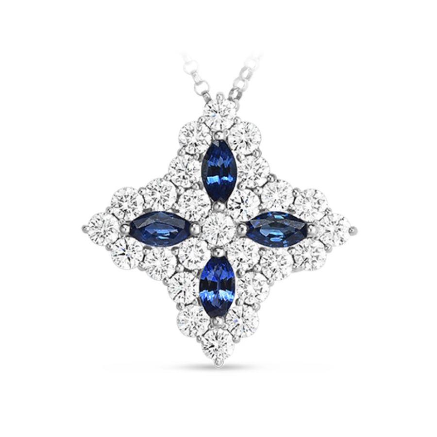 Roberto Coin 18 Karat White Gold Princess Flower Diamond & Sapphire Large Pendant