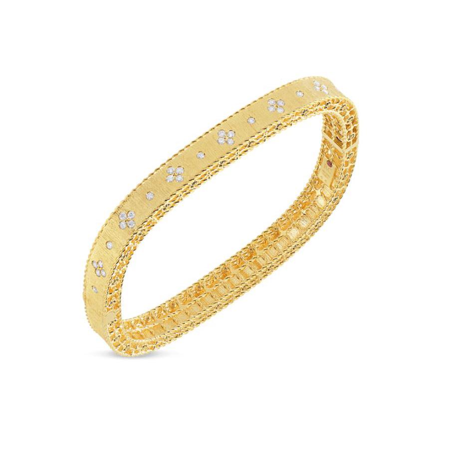 Roberto Coin 18 Karat Yellow Gold Satin Finish Fleur de Lis Diamond Bangle