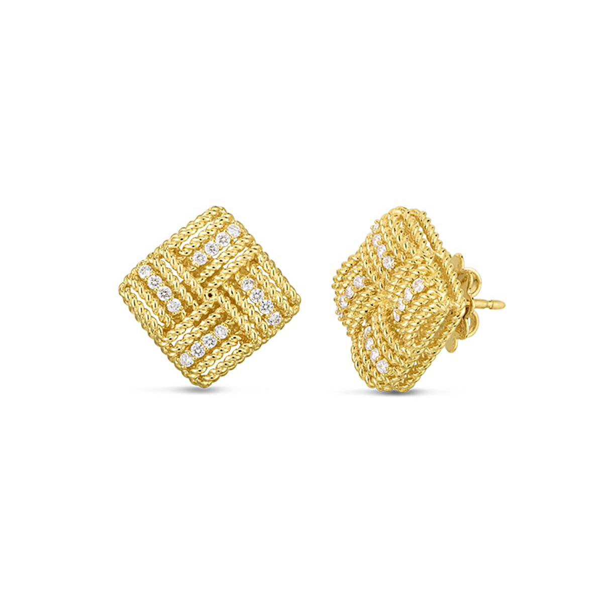 Roberto Coin 18 Karat Yellow Gold Diamond Royal Opera Square Earrings