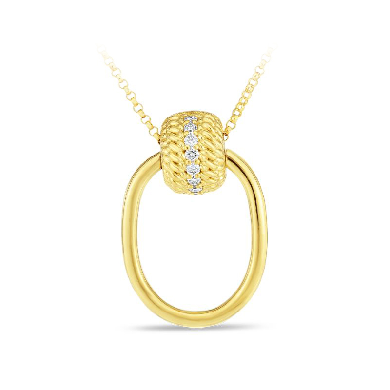 Roberto Coin 18 Karat Yellow Gold Opera Diamond Necklace