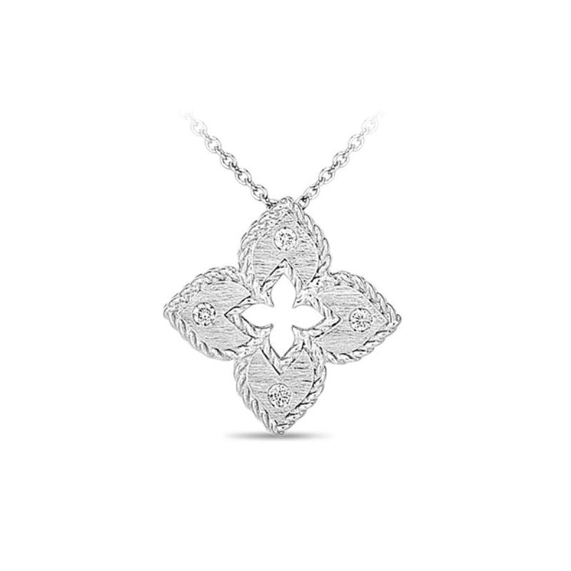 Roberto Coin 18 Karat White Gold Diamond Petite Venetian Princess Necklace