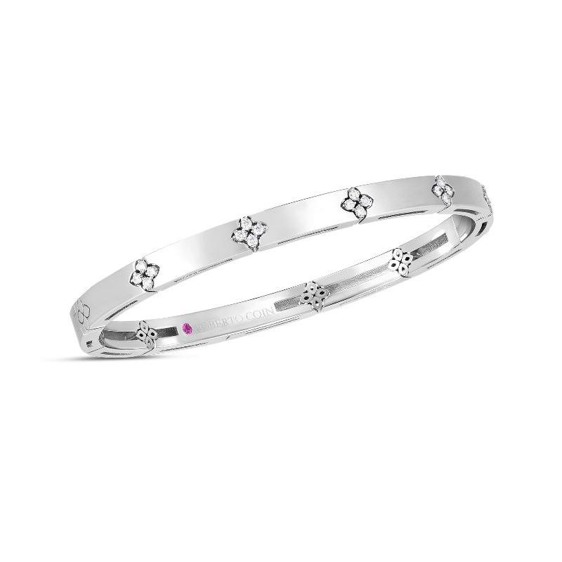 Roberto Coin 18 Karat White Gold Love in Verona Diamond Bangle Bracelet