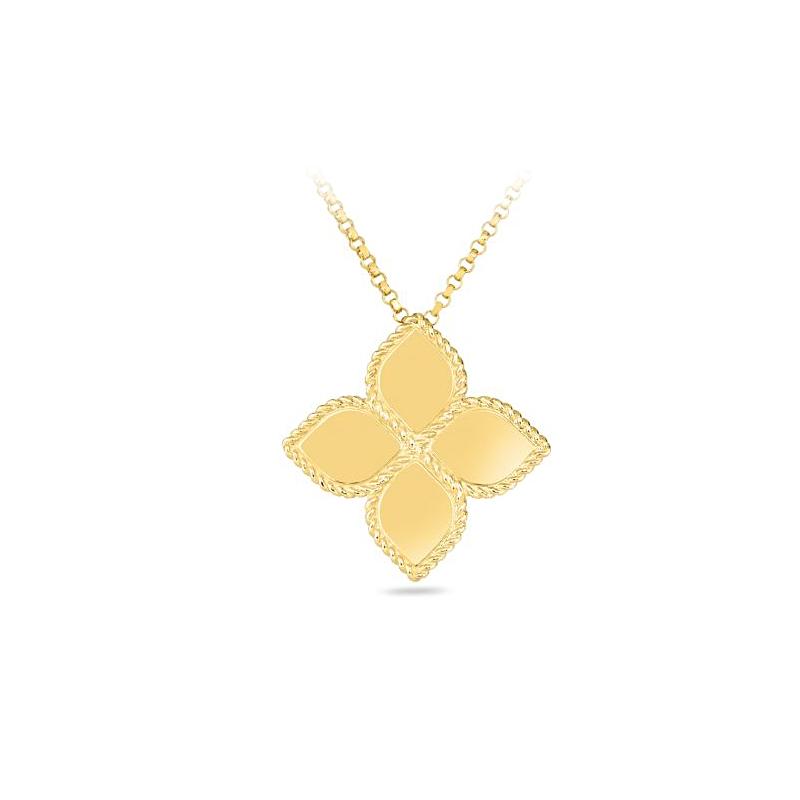 Roberto Coin 18 Karat Yellow Gold Princess Flower Gold Pendant Necklace