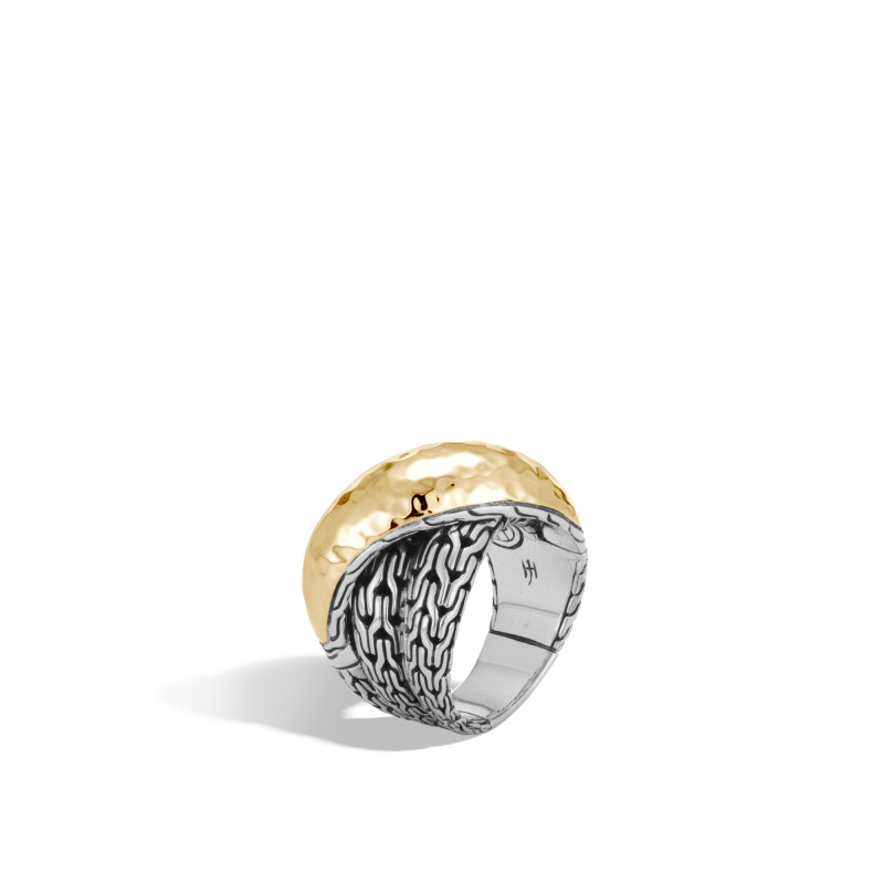 John Hardy Classic Chain Hammered 18 Karat Yellow Gold and Silver Crossover Ring