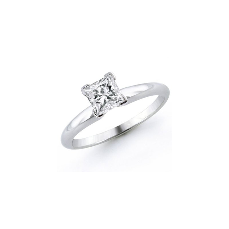 18 Karat White Gold and Platinum Princess Cut Diamond Solitaire Ring